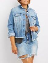 Charlotte Russe Plus Size Refuge Distressed Cut-Off Denim Jacket