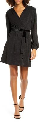 Fraiche by J Glitter Faux Wrap Front Long Sleeve Dress