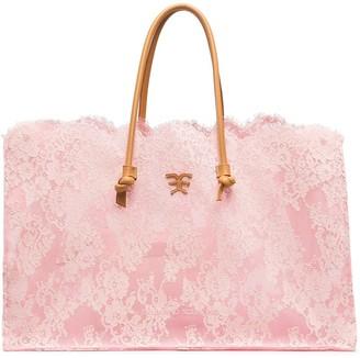 Ermanno Scervino Floral-Lace Tote Bag
