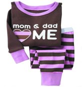 SS&CC Girls' Stripe Long Sleeve 2 Piece 100% Cotton Pajama set(2-7 Years)