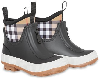 BURBERRY KIDS Vintage Check Neoprene and Rubber Rain Boots