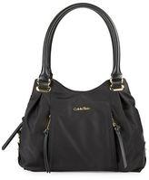 Calvin Klein Faux Leather-Trimmed Nylon Satchel