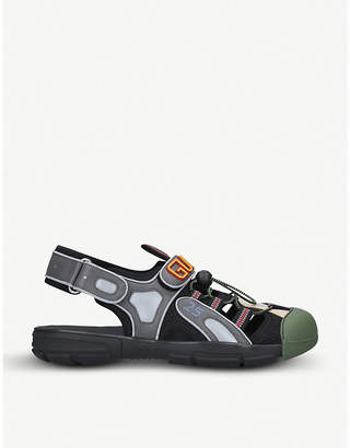 Gucci Tinsel mesh and leather sandals