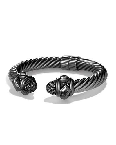 David Yurman Rhodium-Plated Sterling Silver Renaissance Bracelet with Black Diamond