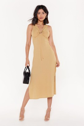 Nasty Gal Womens Open For Business Side Slit Midi Dress - Beige - 6, Beige