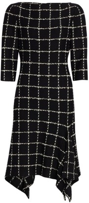 St. John Eyelash Windowpane Knit Sheath Dress