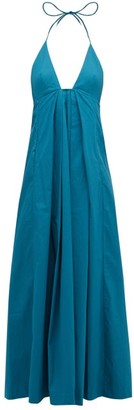 Kalita Atlas Halterneck Cotton Maxi Dress - Green