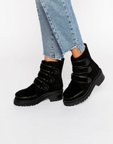 Kat Maconie Vanna Black Shearling Leather Flat Ankle Boots
