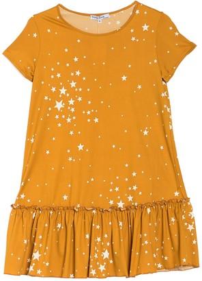 Velvet Torch Star Print Ruffle Hem T-Shirt Dress