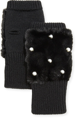 Jocelyn Texty Time Embellished Faux-Fur & Knit Fingerless Mittens