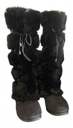 Jimmy Choo Black Mongolian Lamb Boots