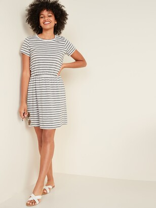 Old Navy Waist-Defined Striped Slub-Knit T-Shirt Dress for Women