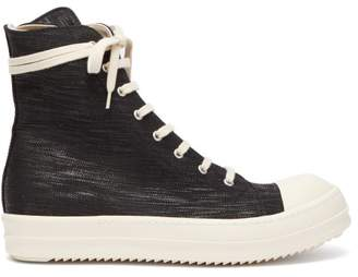 Rick Owens High Top Coated Canvas Trainers - Mens - Black