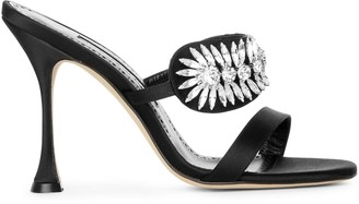 Manolo Blahnik Skysan 105 black satin sandals