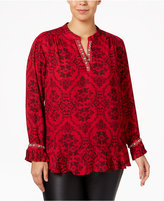 NY Collection Plus Size Embellished Ruffled Blouse
