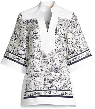 Tory Burch Travel Printed Silk Tunic