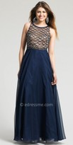 Dave and Johnny Scale Beaded Chiffon Prom Gown