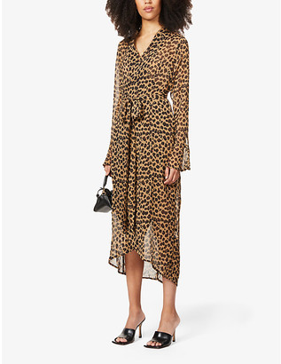 NEVER FULLY DRESSED Leopard print crepe midi wrap dress
