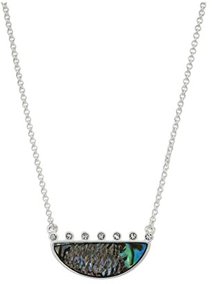Lucky Brand Reversible Abalone Pave Pendant Necklace (Two-Tone) Necklace