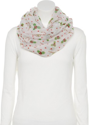 Women's Candy Cane Print Infinity Scarf