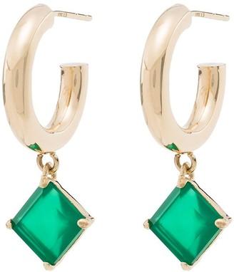 Loren Stewart 10K yellow gold agate hoop earrings