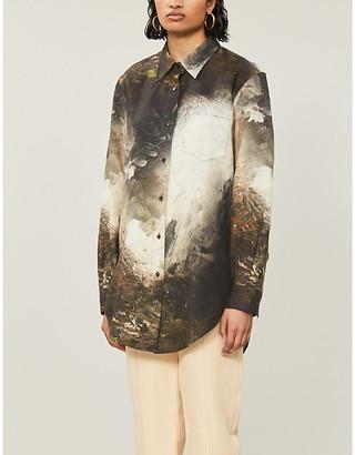 Acne Studios Printed oversized linen shirt