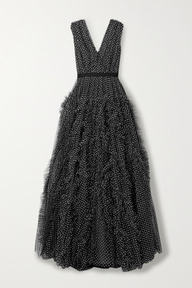 Jason Wu Collection Ruffled Fil Coupe Tulle Gown - Black