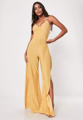 Missguided Gold Slinky Double Strap Halterneck Split Romper