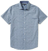 Vince Camuto Slim-Fit Abstract Dotted Print Short-Sleeve Stretch Woven Shirt