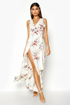 boohoo Floral Wrap Ruffle Hem Maxi Dress