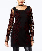 INC International Concepts Petite Velvet-Detail Tunic Sweater, Created for Macy's