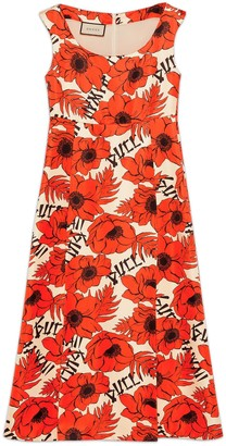Gucci Poppies print silk sleeveless dress