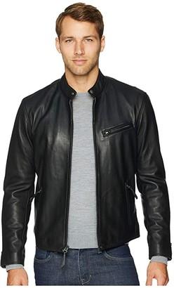 Polo Ralph Lauren Cafe Racer Leather Jacket (Polo Black) Men's Coat