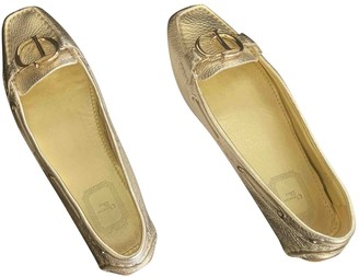 Christian Dior Gold Exotic leathers Ballet flats