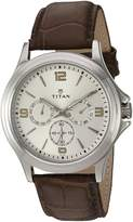 Titan Men's 'Neo' Quartz Metal and Leather Automatic Watch, Color:Brown (Model: 1698SL01)
