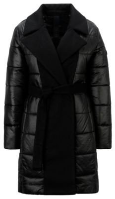 HUGO BOSS Glossy double-breasted padded jacket with fabric inserts