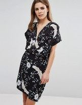Liquorish Wrap Front Stork Print Dress
