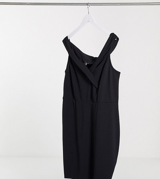 New Look Curve bardot midi dress in black