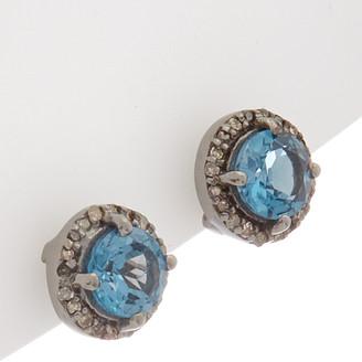 Adornia Fine Silver 1.88 Ct. Tw. Diamond & Blue Topaz Halo Studs