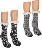Muk Luks 2 Pairs Jojoba Infused Cabin Socks with Faux Fur