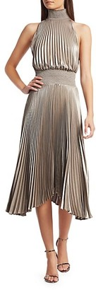 A.L.C. Renzo Pleated Metallic Halter Dress
