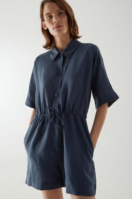 Cos Linen Shirt-Detail Playsuit