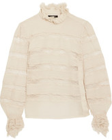 Isabel Marant Sondra Pintucked Silk-georgette And Lace Turtleneck Blouse - Ecru