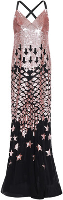 Temperley London Starlet Open-back Sequined Embroidered Georgette Gown