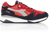 Diadora Men's V7000 Suede & Leather Sneakers-RED, NAVY, GREY