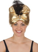 Jacobson Hat Company Women's Turban with Jewel and Black Feather