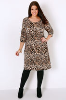 Yours Clothing Black & Brown Animal Print Dress With Tie Waist