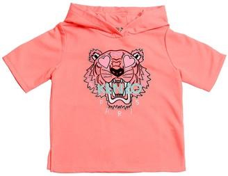 Kenzo Kids Embroidered Cotton Blend S/s Sweatshirt