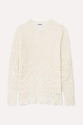 Jil Sander Crochet-knit Cotton Sweater - Off-white