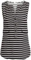 Akris Punto Sleeveless Striped Pocket Blouse
